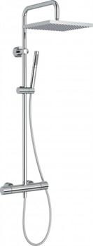JACOB DELAFON Brigitte Душевая колонна с термостатическим смесителем, с квадратным верхним душем, без излива для ванны - фото 66088