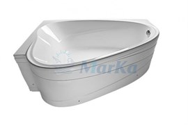 1MARKA Love Ванна асимметричная, с рамой и панелью, белая, 185x135, левая