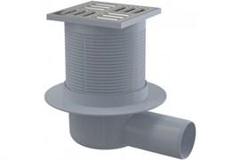 ALCA PLAST Сливной трап, 105х105/50 мм, боковая подводка, решетка из нержавеющей стали , гидрозатвор мокрый