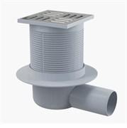 ALCA PLAST Сливной трап, 105х105/50 мм, боковая подводка, решетка из нержавеющей стали , комбинированный гидрозатвор SMART