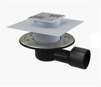 ALCA PLAST Сливной трап, 105х105/50/75 мм, боковая подводка, решетка и фланец из нерж.стали , воротник-2-х уров. изоляция, гидрозатвор-сухой