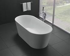 BELBAGNO BB71 Ванна акриловая отельностоящая овальная в комплекте со сливом-переливом цвета хром