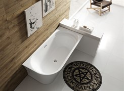 BELBAGNO BB410 Ванна акриловая отельностоящая овальная в комплекте со сливом-переливом цвета хром