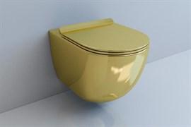 ESBANO GARCIA Унитаз подвесной, 550х370х370, сиденье ультратонкое, быстросьемное с микролифтом, цвет: золотой