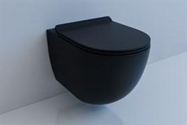ESBANO GARCIA Унитаз подвесной, 550х370х370, сиденье ультратонкое, быстросьемное с микролифтом, цвет: черный матовый
