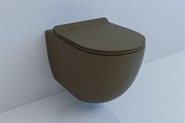 ESBANO GARCIA Унитаз подвесной, 550х370х370, сиденье ультратонкое, быстросьемное с микролифтом, цвет: кофе матовый