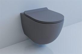 ESBANO GARCIA Унитаз подвесной, 550х370х370, сиденье ультратонкое, быстросьемное с микролифтом, цвет: серый матовый