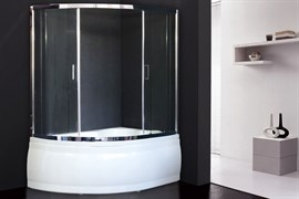 ROYAL BATH Alpine 150x100 Ограждение душевое для ванны стеклянное, стекло 6 мм прозрачное, профиль алюминий  хром, дверь раздвижная