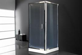 ROYAL BATH HV 90x90 Душевой уголок квадратный пристенный П-образный, стекло 6 мм рифленое, профиль алюминий  хром, дверь распашная