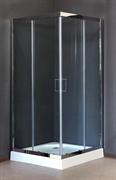 ROYAL BATH RB-L-3002 90x90 Душевое ограждение, стекло 6 мм прозрачное, профиль нержавеющая сталь зеркальный глянец, дверь раздвижная