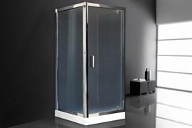 ROYAL BATH HV 80x80 Душевой уголок квадратный пристенный П-образный, стекло 6 мм рифленое, профиль алюминий  хром, дверь распашная