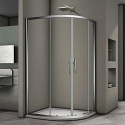 VECONI RV-08 Душевой уголок ассиметричный с раздвижными дверями, размер 100х80 см - фото 10382