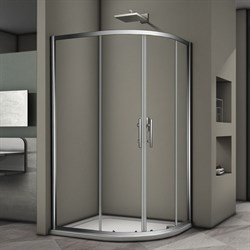 VECONI RV-08 Душевой уголок ассиметричный с раздвижными дверями, размер 100х90 см - фото 10383