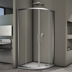 VECONI RV-07 Душевой уголок полукруглый с раздвижными дверями, размер 100х100 см - фото 10388
