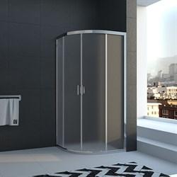 VECONI RV-01 Душевой уголок полукруглый с раздвижными дверями, размер 80х80 см - фото 10625