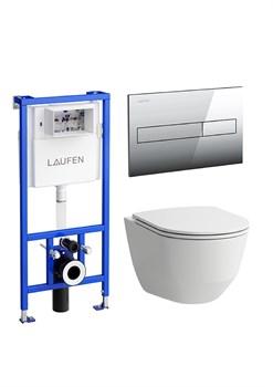 ПЭК Laufen Pro 8.6996.6.000.000.R подвесной унитаз + инсталляция + кнопка + сиденье - фото 88242