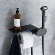 AM.PM Like Смеситель, монтируемый в стену с гигиеническим душем и полкой, чёрный