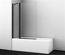 WASSERKRAFT Berkel 48P02-110 BLACK Fixed Стеклянная шторка на ванну, двухстворчатая,черный профиль, ширина 110 см, стекло прозрачное 6 мм