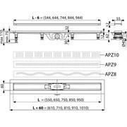 ALCA PLAST Водоотводящий желоб, L 850 мм, пластик, с решеткой из нержавеющей стали, матовый