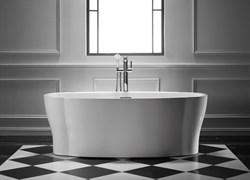 BELBAGNO BB403 Ванна акриловая отельностоящая овальная в комплекте со сливом-переливом цвета хром