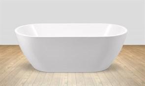 BELBAGNO BB70 Ванна акриловая отельностоящая овальная в комплекте со сливом-переливом цвета хром