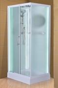 ESBANO Led Душевая кабина, поддон-15 см, стекла-рифленые, профиль-белый, LED-подсветка