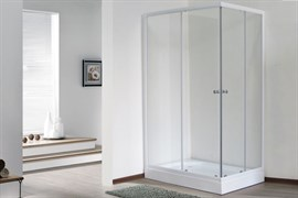 ROYAL BATH HPD 85x120 Душевой уголок прямоугольный, стекло 6 мм прозрачное, профиль алюминий  белый, дверь раздвижная