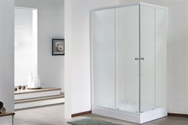 ROYAL BATH HPD 95x120 Душевой уголок прямоугольный, стекло 6 мм матовое, профиль алюминий  белый, дверь раздвижная
