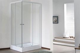 ROYAL BATH HPD 85x100 Душевой уголок прямоугольный, стекло 6 мм прозрачное, профиль алюминий  белый, дверь раздвижная