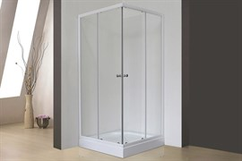 ROYAL BATH HPD 95x100 Душевой уголок прямоугольный, стекло 6 мм прозрачное, профиль алюминий  белый, дверь раздвижная