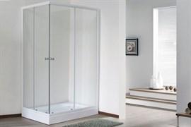 ROYAL BATH HPD 100x90 Душевой уголок прямоугольный, стекло 6 мм прозрачное, профиль алюминий  белый, дверь раздвижная