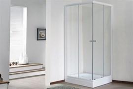 ROYAL BATH HPD 75x90 Душевой уголок прямоугольный, стекло 6 мм прозрачное, профиль алюминий  белый, дверь раздвижная