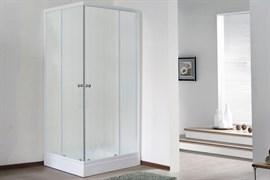 ROYAL BATH HPD 90x80 Душевой уголок прямоугольный, стекло 6 мм матовое, профиль алюминий  белый, дверь раздвижная