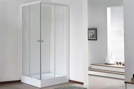 ROYAL BATH HPD 90x80 Душевой уголок прямоугольный, стекло 6 мм прозрачное, профиль алюминий  белый, дверь раздвижная