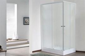 ROYAL BATH HPD 100x80 Душевой уголок прямоугольный, стекло 6 мм матовое, профиль алюминий  белый, дверь раздвижная