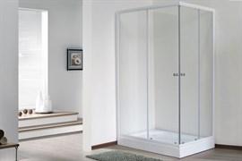 ROYAL BATH HPD 100x80 Душевой уголок прямоугольный, стекло 6 мм прозрачное, профиль алюминий  белый, дверь раздвижная
