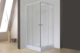 ROYAL BATH HPD 75x80 Душевой уголок прямоугольный, стекло 6 мм прозрачное, профиль алюминий  белый, дверь раздвижная