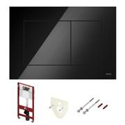 TECEbase Система инсталляции для унитазов  4 в 1 с кнопкой смыва 9240403 черный глянцевый, крепежом и звукоизоляцией
