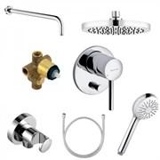 KLUDI Bozz 386300576 набор встраиваемого смесителя для ванны с ручным и верхним душем 7 в 1